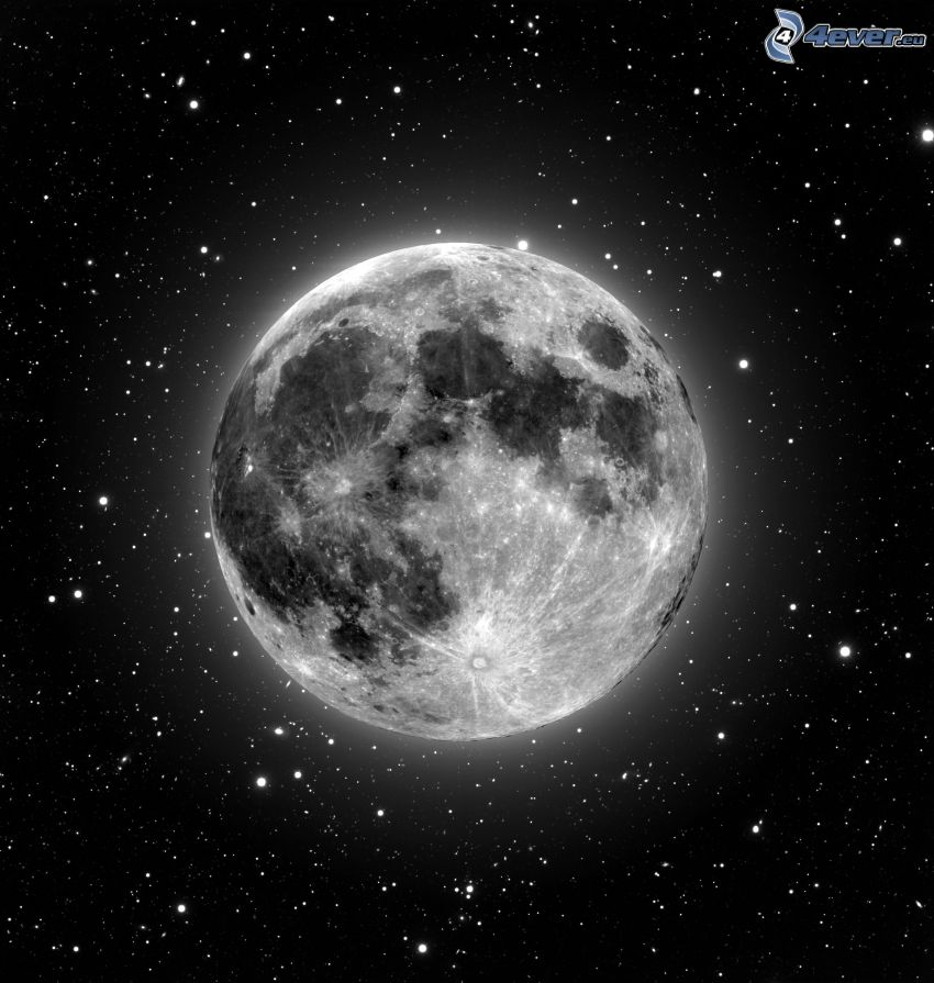 Luna, estrellas, universo, Luna llena