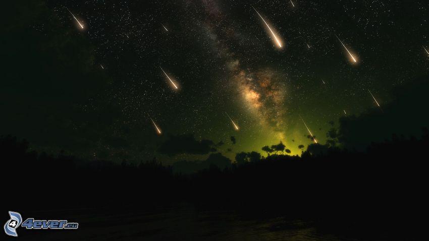 meteoritos, cielo de noche