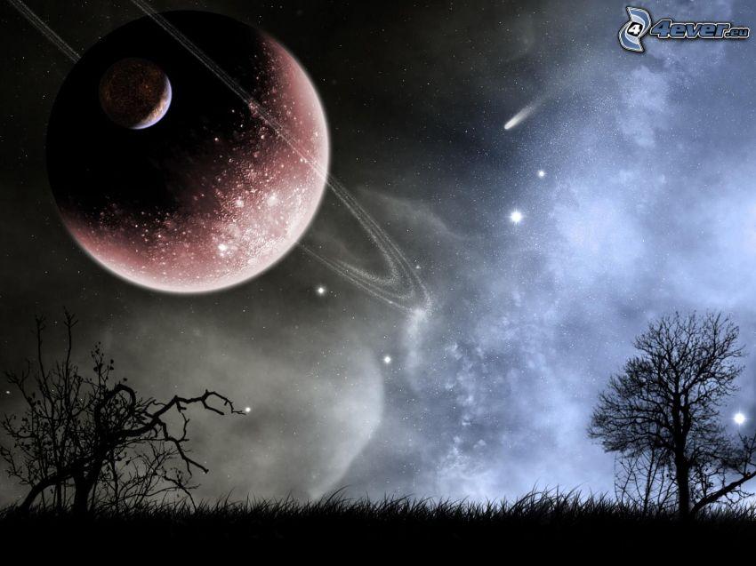 paisaje ciencia ficción, planetas, estrellas, noche, prado, siluetas de los árboles