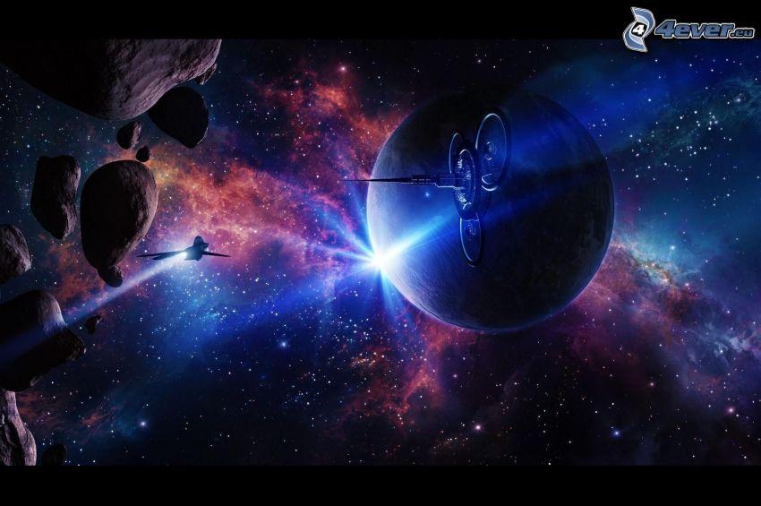 planeta, astronave, asteroides