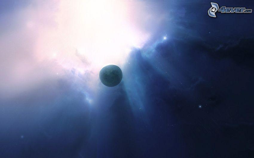 planeta, estrella, rayos