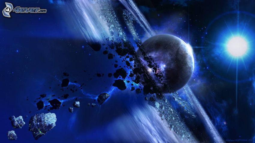 planeta, estrella, talle de asteroides