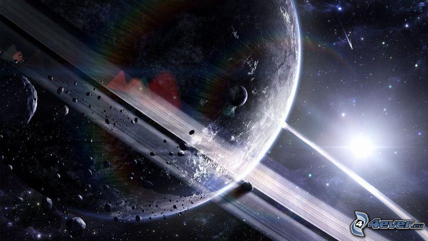 Planeta con el anillo, planeta, estrella