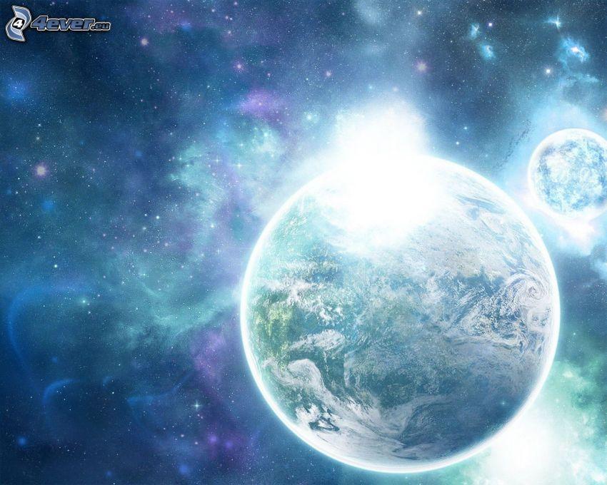 Planeta Tierra, cielo estrellado, luz intensa