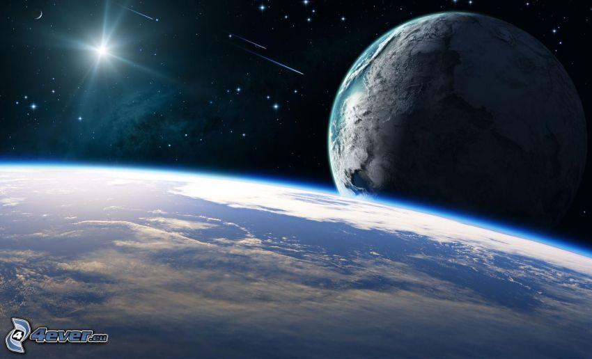 Planeta Tierra, sol, estrellas, universo