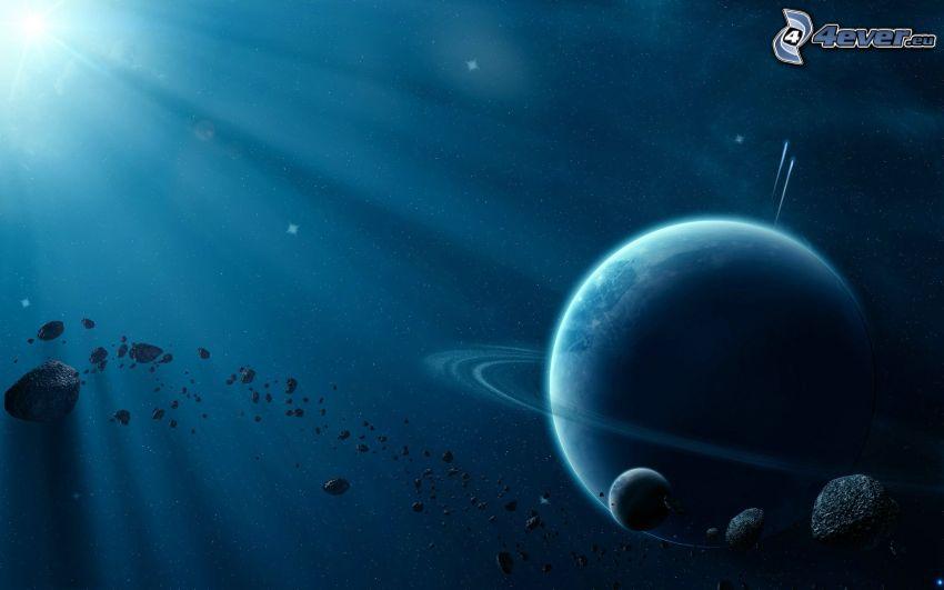 planetas, asteroides, rayos de sol