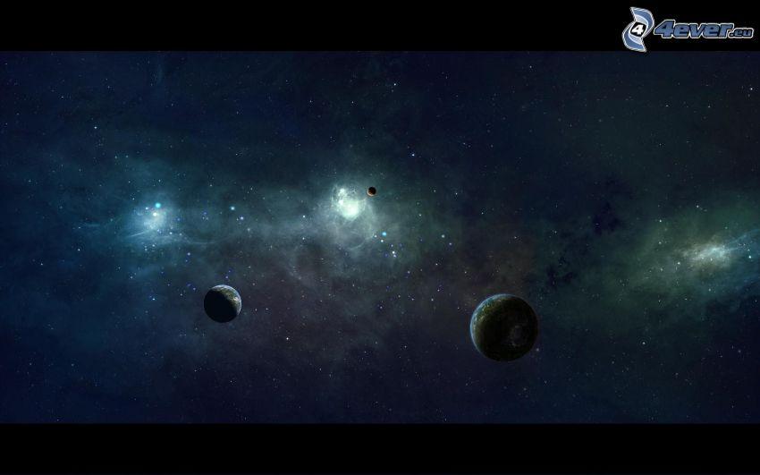 planetas, cielo estrellado, universo