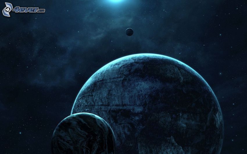 planetas, cielo estrellado