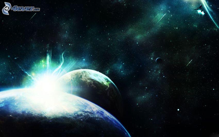 planetas, colisión espacial