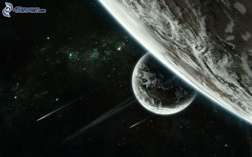 planetas, estrellas fugaces