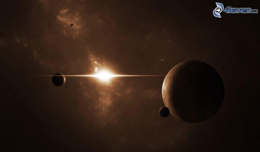 planetas, luz intensa