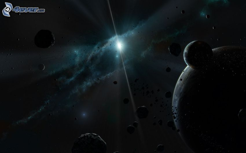 planetas, piedras, estrella