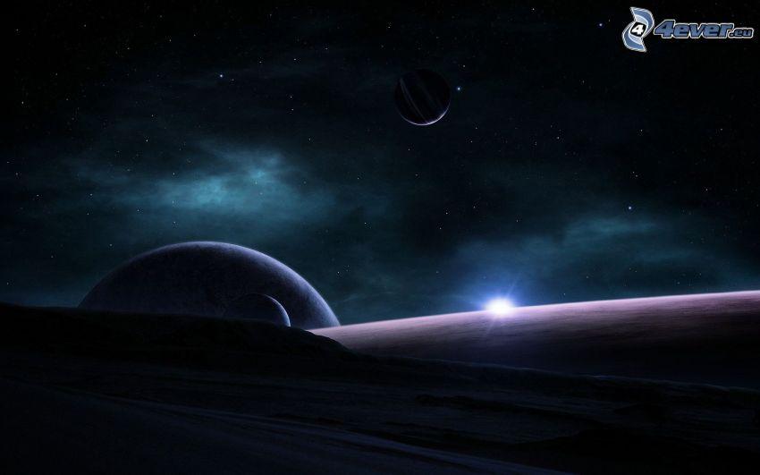 planetas, sol, cielo estrellado
