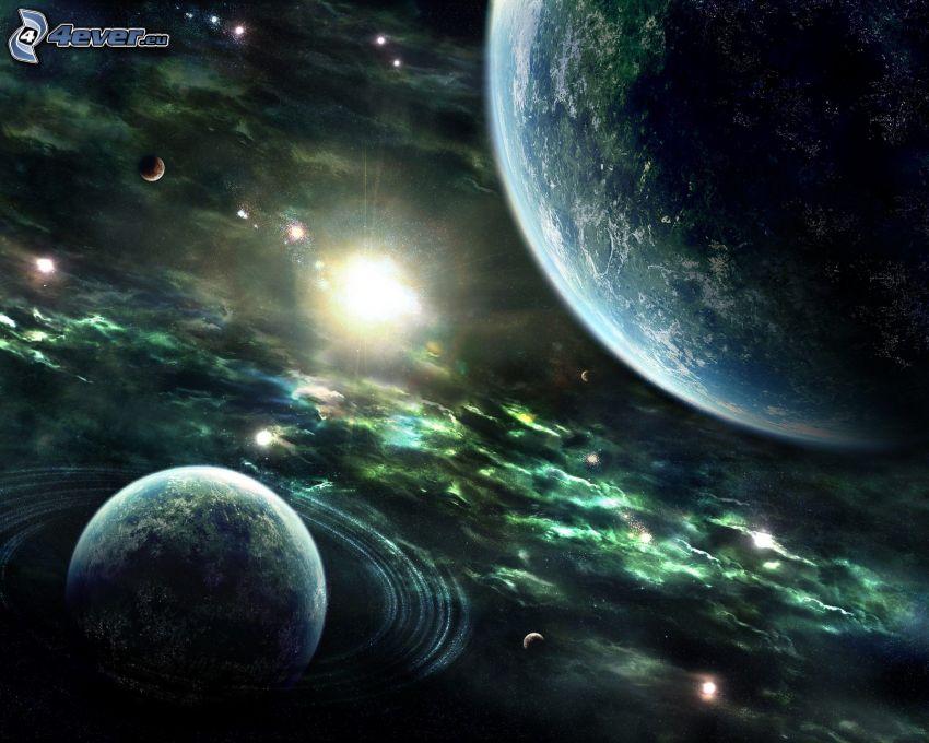 planetas, sol, universo