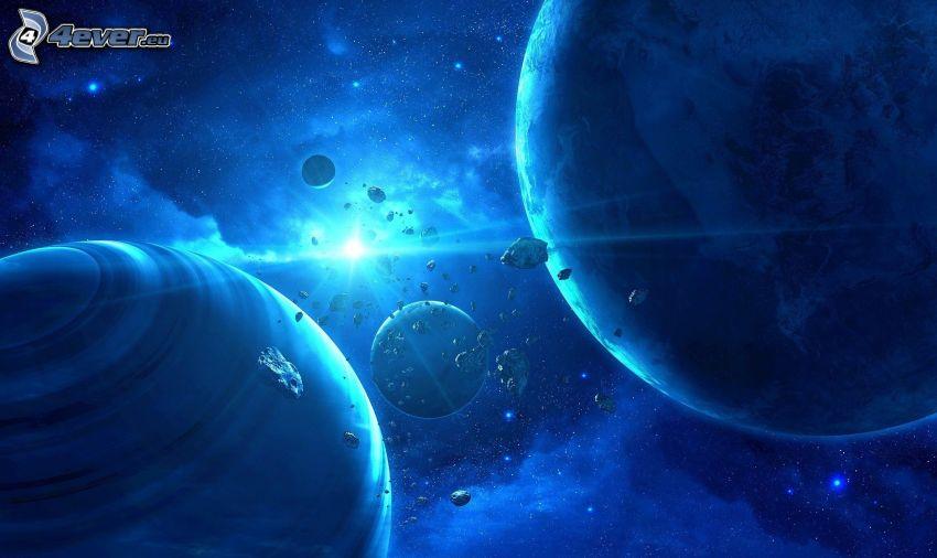 planetas, talle de asteroides, estrellas