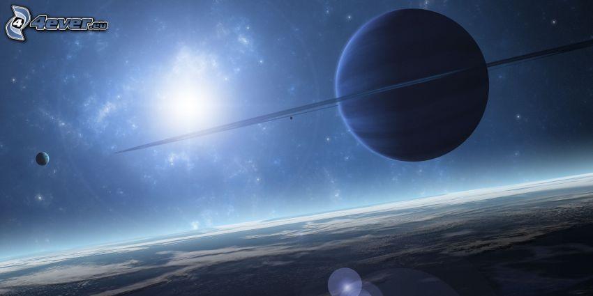 Saturn, sol, planeta