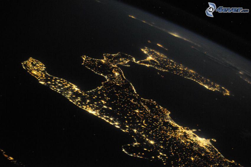 Sicilia, imagen del satélite, noche, Italia