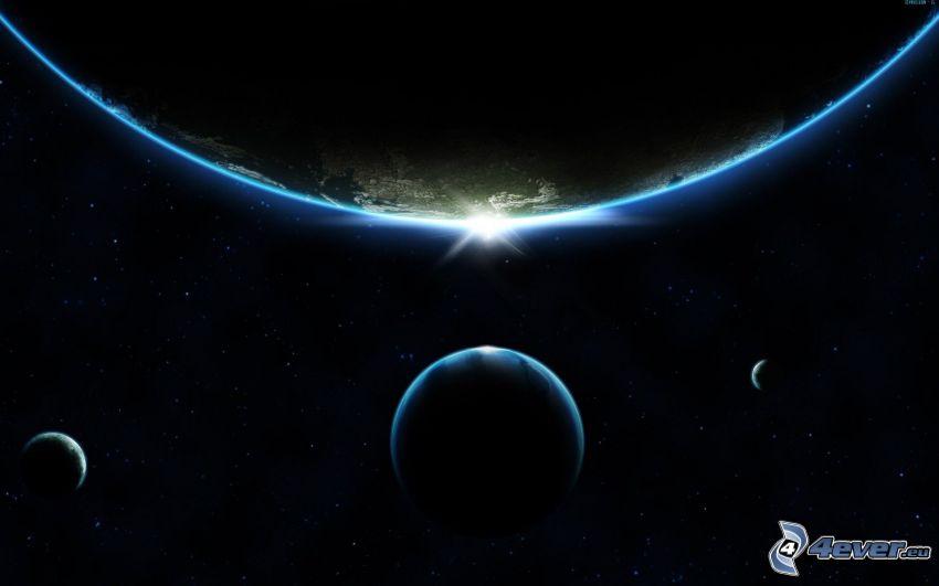 Sol detrás de la Tierra, planetas