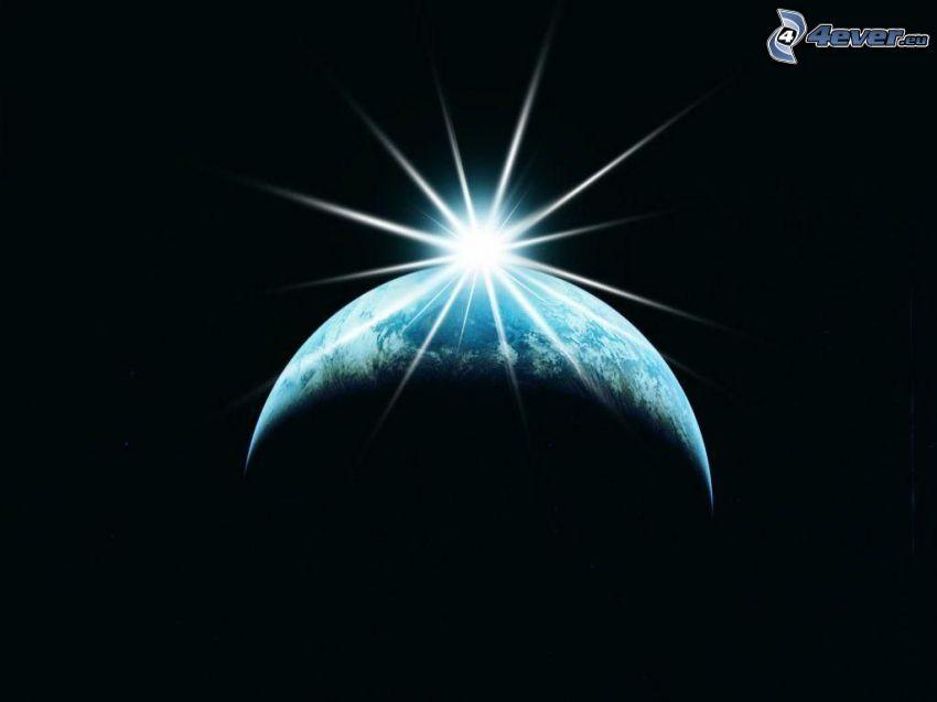 Sol detrás de la Tierra, universo, rayos