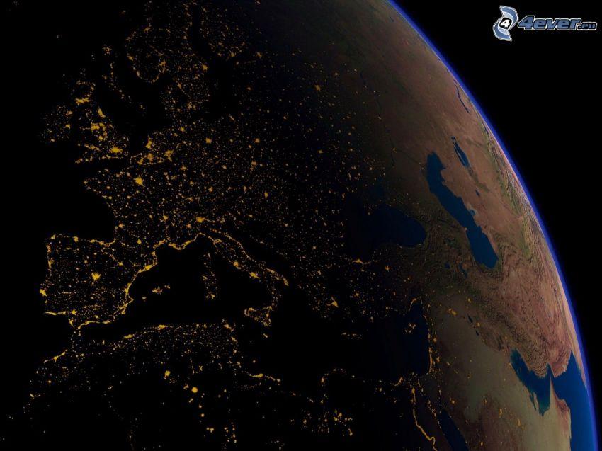 Tierra, iluminación de europa de noche, día y noche