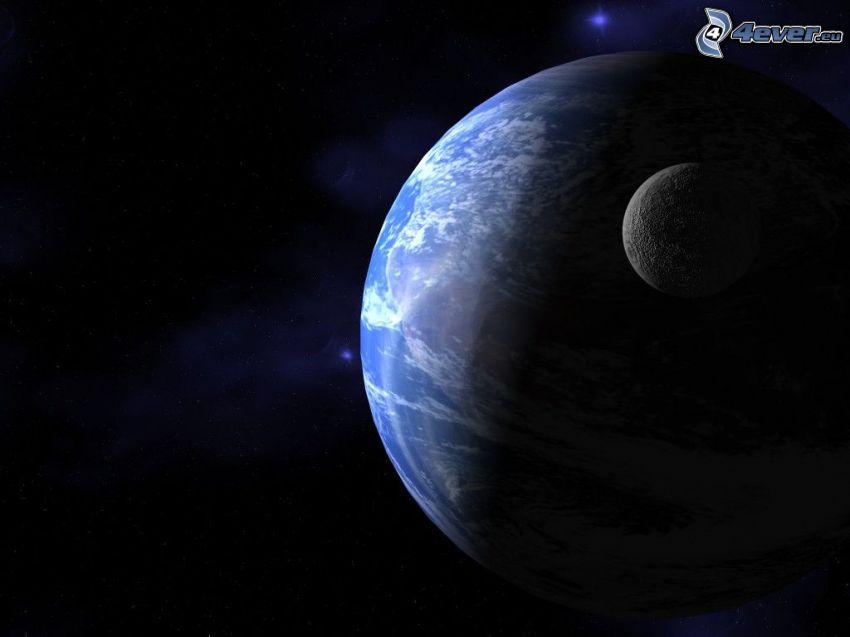Tierra y la Luna, universo, Sistema Solar, planetas