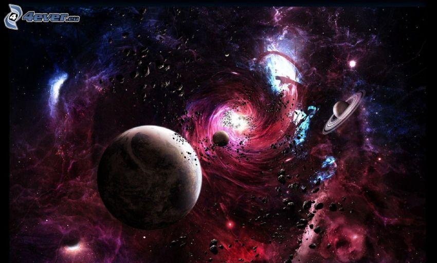 universo, planetas, luz intensa, asteroides