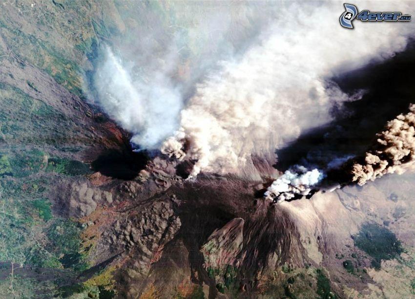 volcán, roca, cima, imagen del satélite