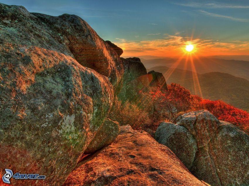 Utah National Park, puesta de sol en las montañas, piedras, montañas, HDR