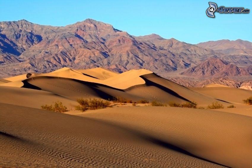 Valle de la Muerte, sierra, dunas de arena