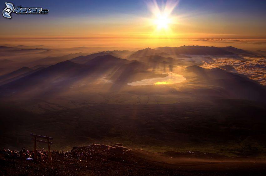vista del paisaje, colina, puesta del sol