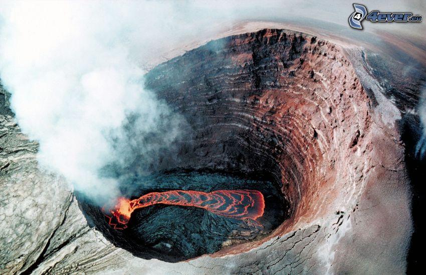 volcán, cráter, lava, humo