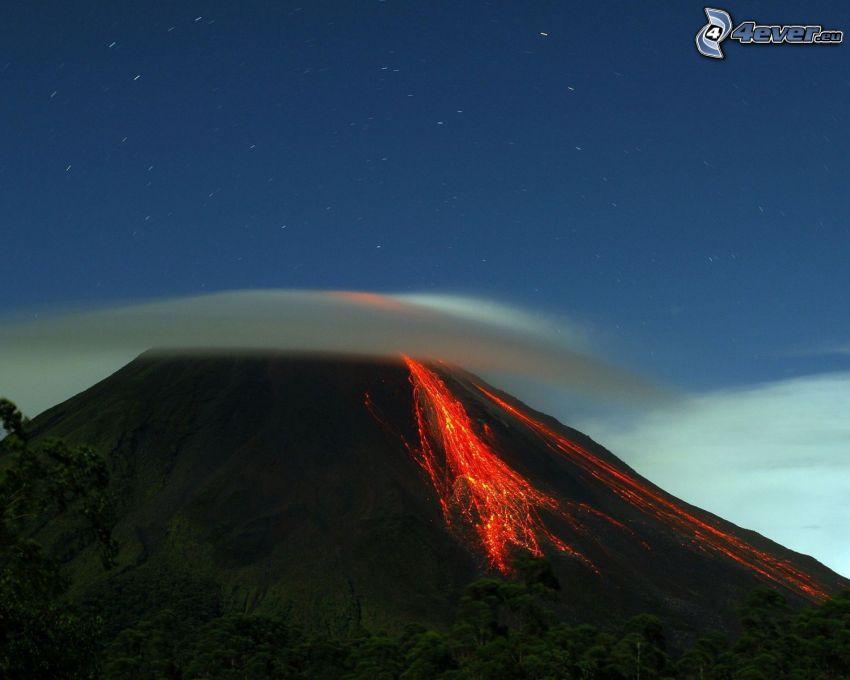 volcán, lava, nube