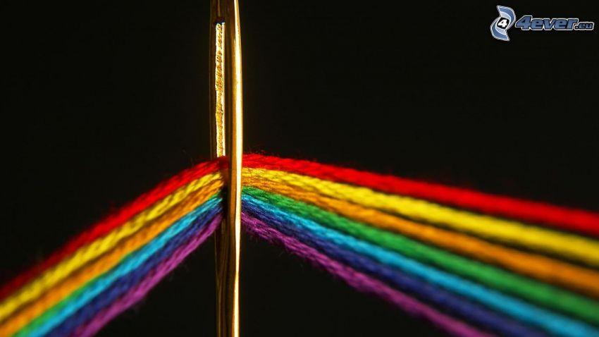 aguja, hilos, colores