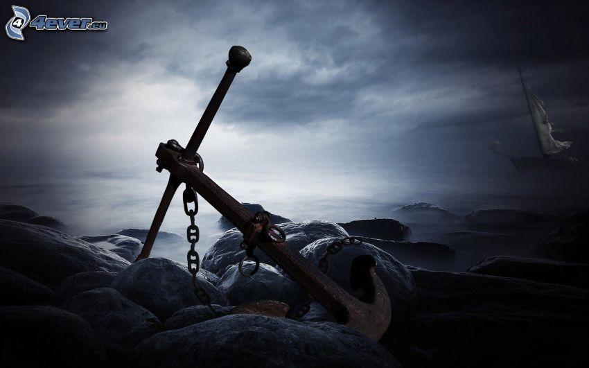 ancla, piedras, mar, velero, nubes oscuras