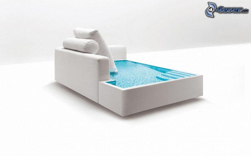 asiento, piscina