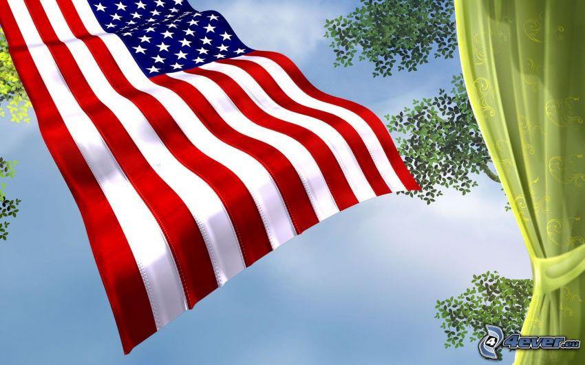 bandera americana, hojas, cortina