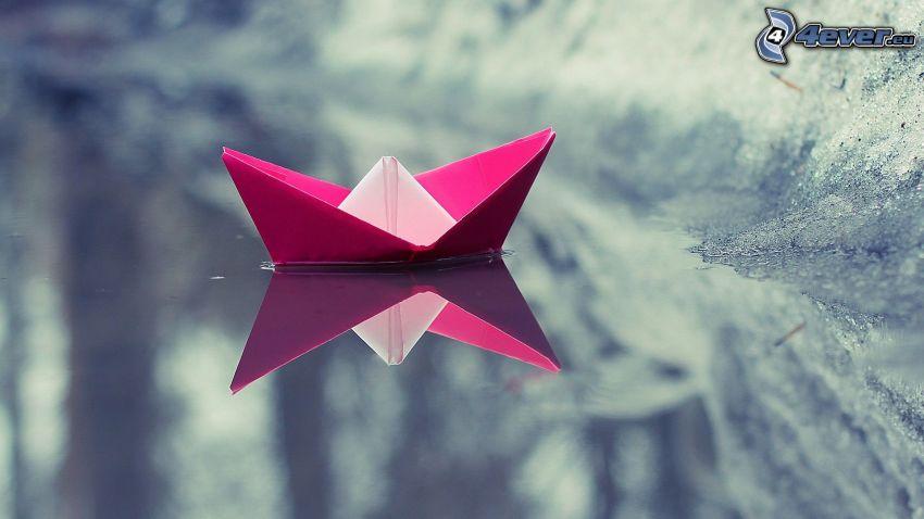 barco de papel, agua, reflejo