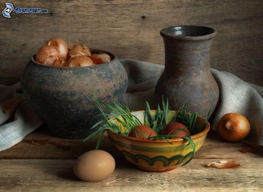 bodegón, huevos, cebolla, florero
