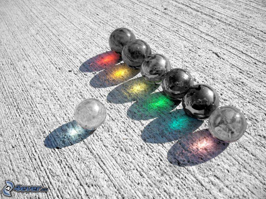 bolas metálicas, bolas de cristal