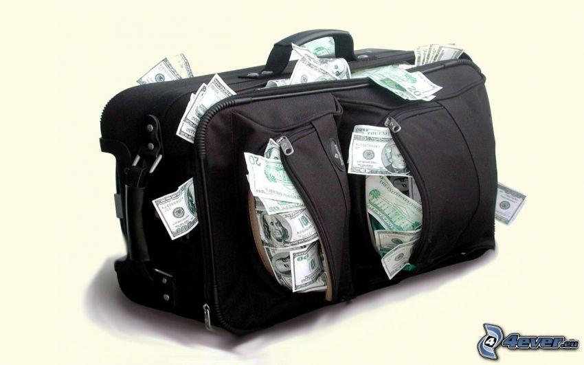 bolsa de Viaje, un montón de dinero, dólares
