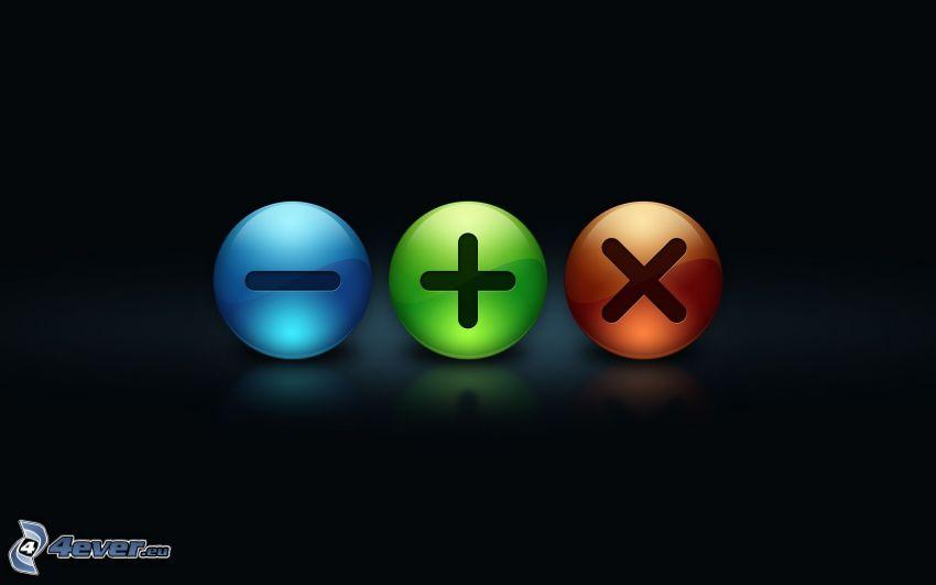 botones, menos, plus, X