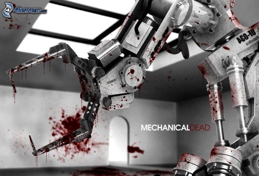 brazo mecánico, sangre, robot