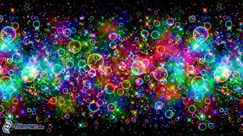 burbujas, colores del arco iris