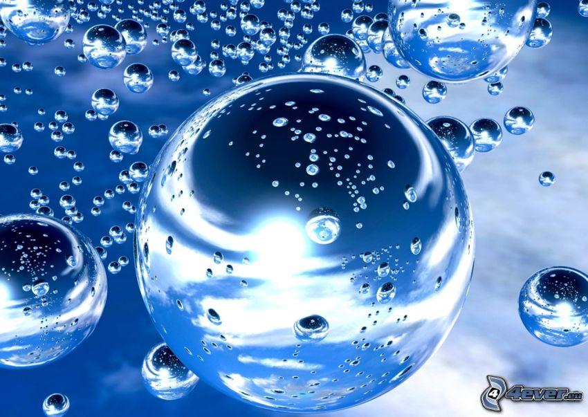 burbujas, fondo azul