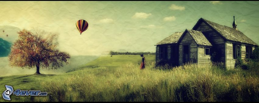 cabaña, choza, globo, árbol, panorama