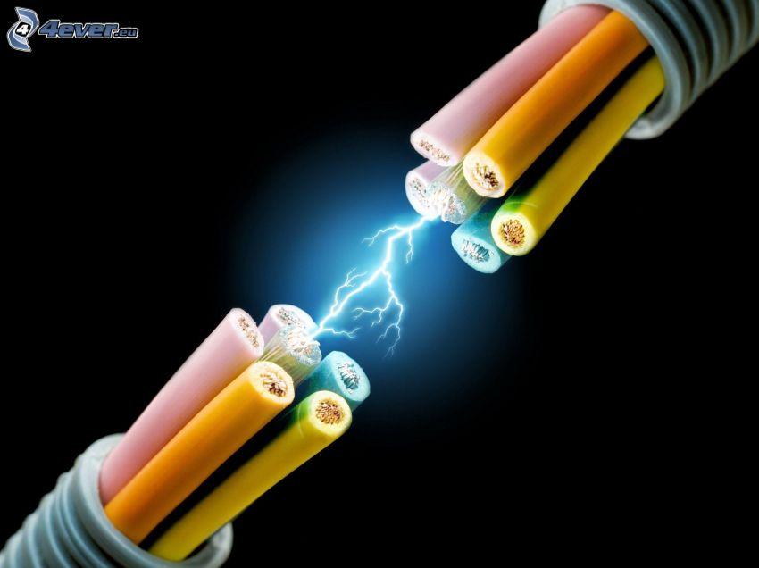 cable, chispazo, electricidad