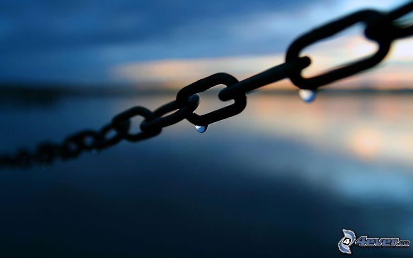 cadena, gotas de agua