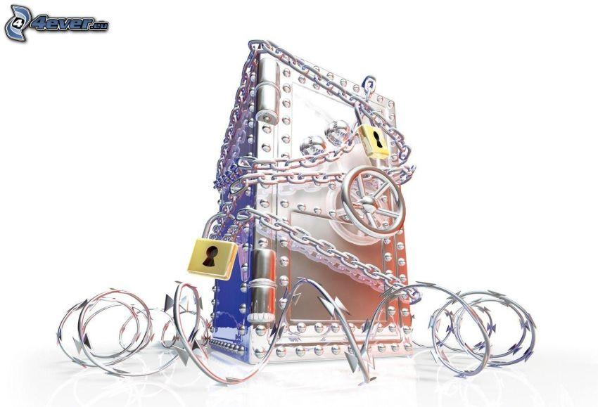 caja fuerte, cadena, alambre de púas