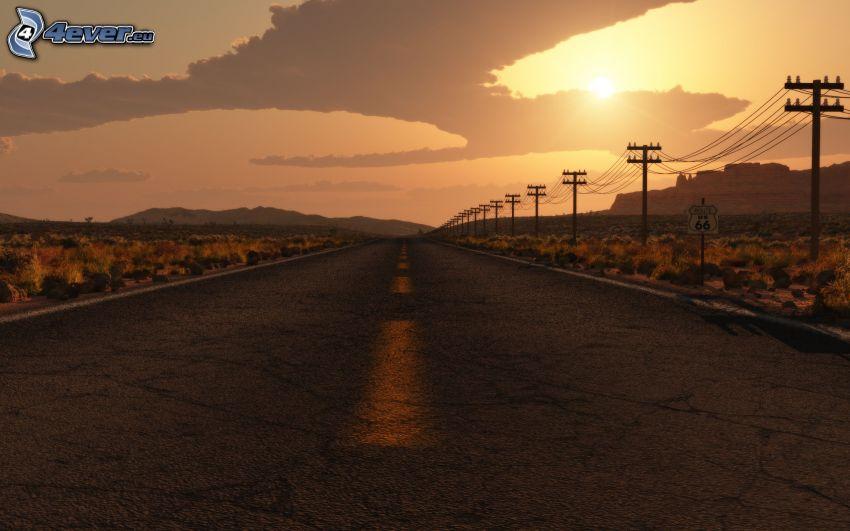 camino recto, alambrado, puesta de sol sobre la carretera