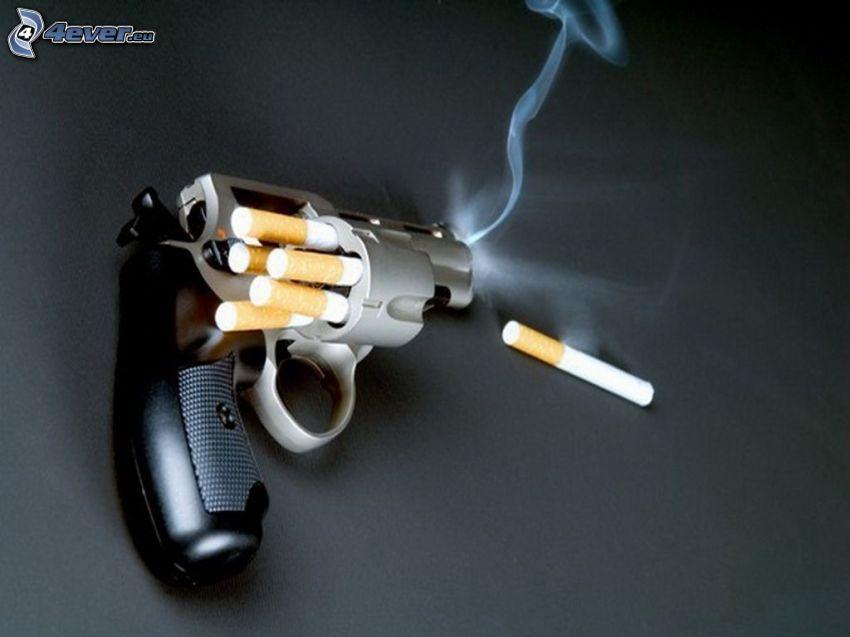 campaña contra el tabaquismo, cigarrillos, revólver